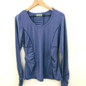 Athleta Purple Ruched Long Sleeve Workout Top